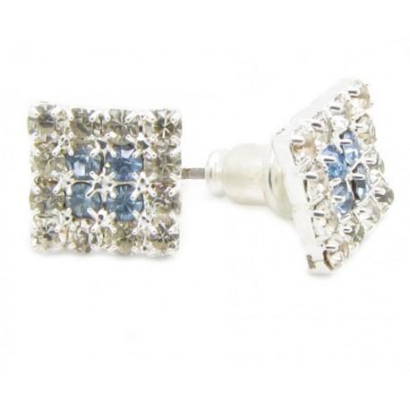 2 Kristall Ohrstecker 16 Kristalle Klar / Blau Bling