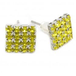"Kristall Ohrstecker ""Crystal / Yellow"" 16 Kristalle Bling 4-eck viereck 8mm (2 Stück)"