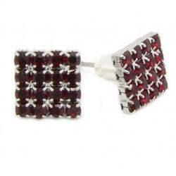 "Kristall Ohrstecker ""Crystal / Rubin Red"" 16 Kristalle Bling 4-eck viereck 8mm (2 Stück)"
