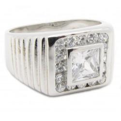 "925 Silber Ring ""Square Bling"" Zirkonia Rhodiniert"