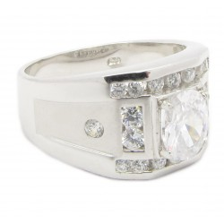 "925 Silber Ring ""King of Bling"" Zirkonia Rhodiniert"