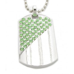 "PLAYAZ Dog Tag ""Lime Green"" Kristall mit Kette"
