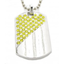 "PLAYAZ Dog Tag ""Yellow"" Kristall mit Kette"