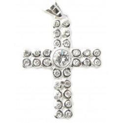 "925 Silber Kreuz ""50 CENT Balla"" Zirkonia Rhodiniert"