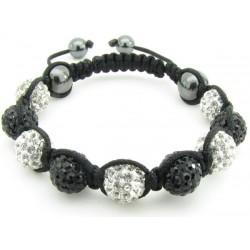 """Shamballa Armband """"Black & White"""" von PLAYAZ mit echten Kristallen besetzt"""