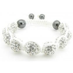 """Shamballa Armband """"Pure White"""" von PLAYAZ mit echten Kristallen besetzt"""