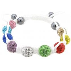 """Shamballa Armband """"Rainbow Pure White"""" von PLAYAZ mit echten Kristallen besetzt"""