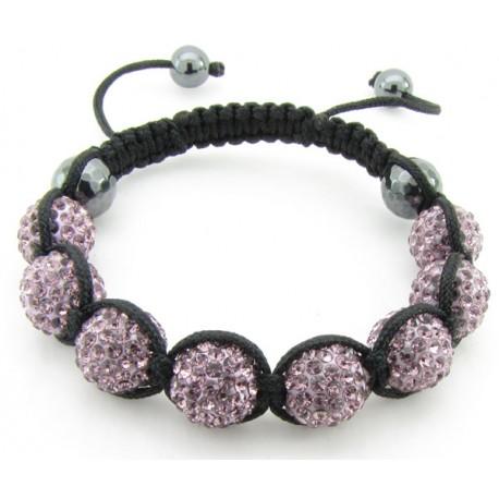 """Shamballa Armband """"Pink & Black"""" von PLAYAZ mit echten Kristallen besetzt"""
