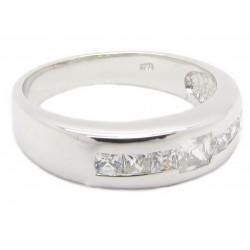 "925 Silber Ring ""7th stone"" Zirkonia Rhodiniert"