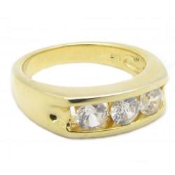 """925 Silber Ring """"3 Stone"""" Zirkonia vergoldet (24 Karat)"""