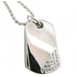 "PLAYAZ Dog Tag ""Black"" Kristall mit Kette"