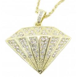 "PLAYAZ Anhänger ""DIAMOND XXL"" Kristall vergoldet (Kette inklusive)"