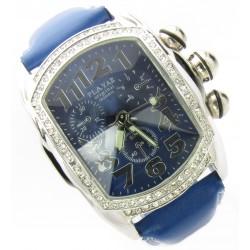 "XXL PLAYAZ Armbanduhr ""Lupah Silver"" Kristall Platin Chrono Look Leder Blau"