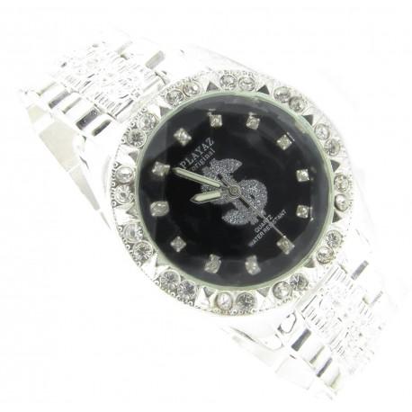 "PLAYAZ Bling Armbanduhr ""Dollar Black"" Kristall Platin Look (schwarz)"