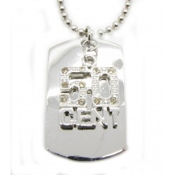 "PLAYAZ Dog Tag ""50 CENT BLING"" Kristall mit Kette"