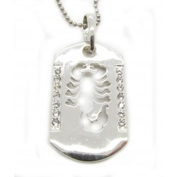 "PLAYAZ Dog Tag ""SKORPION BLING"" Kristall mit Kette"