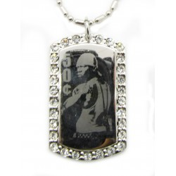 "PLAYAZ Dog Tag ""50 CENT BLING"" Foto Gravur Kristall mit Kette"