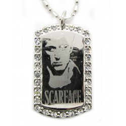 "PLAYAZ Dog Tag ""SCARFACE FACE BLING"" Foto Gravur Kristall mit Kette"