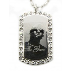 "PLAYAZ Dog Tag ""THE GAME BLING"" Foto Gravur Kristall mit Kette"